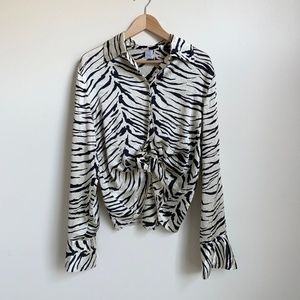 Vintage Silk Blouse in Wild Print